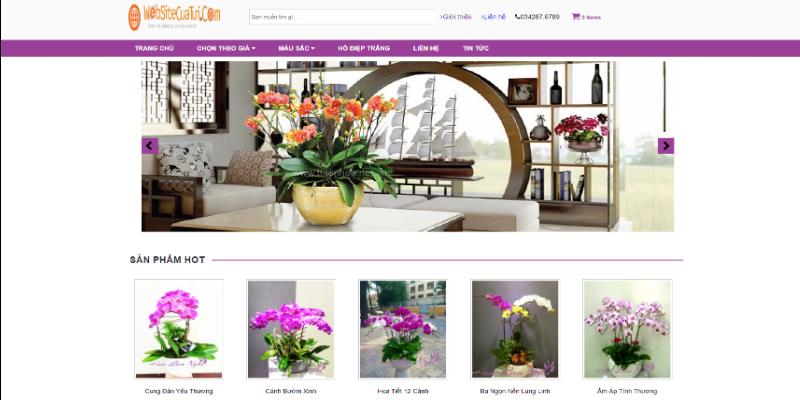Mẫu website bán hoa lan miễn phí