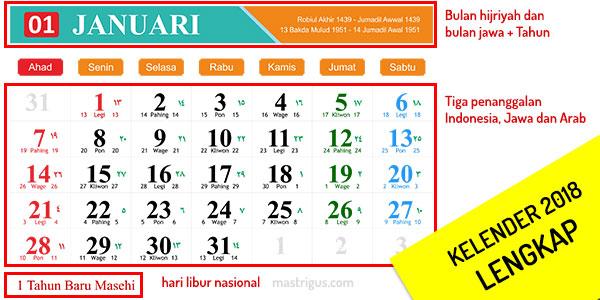 Desain Kalender Tahun 2018 Lengkap Jawa Hijriyah Dan Indonesia
