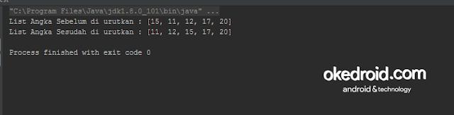 Output Hasil Contoh Program Mengurutkan Angka Integer  Sorting Array List pada Java