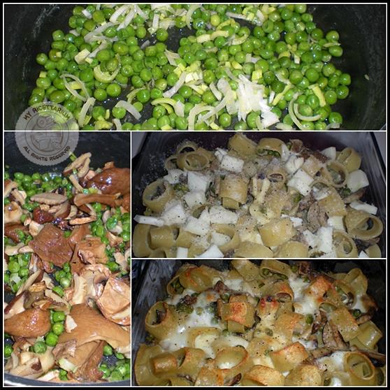 Pasta al forno con piselli, funghi e scamorza di bufala