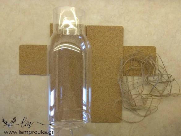 Ανθοδοχείο από πλαστικό μπουκάλι και φελλό.
