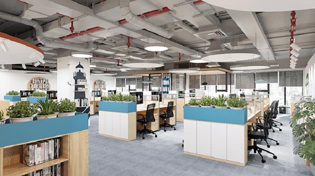 Sơn màu văn phòng trắng kết hợp nội thất màu thương hiệu