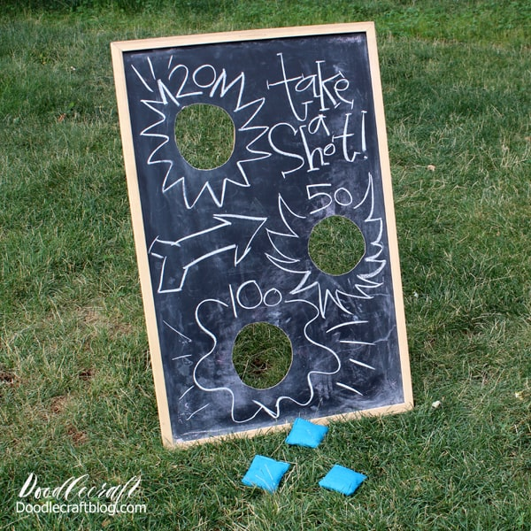 Upcycle an old chalkboard into a bean bag toss game perfect for an outside carnival, faire, fair or party