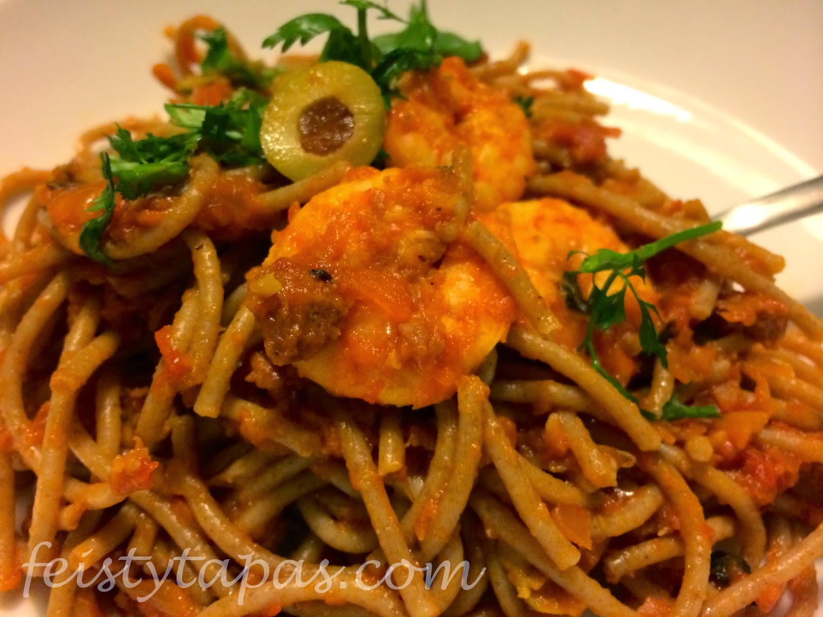 Thermomix Spaghetti Feisty Tapas Thermomix Lemony Chorizo And Prawn Pasta
