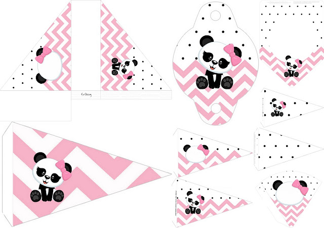 Panda Baby in Pink Chevron Free Party Printables.