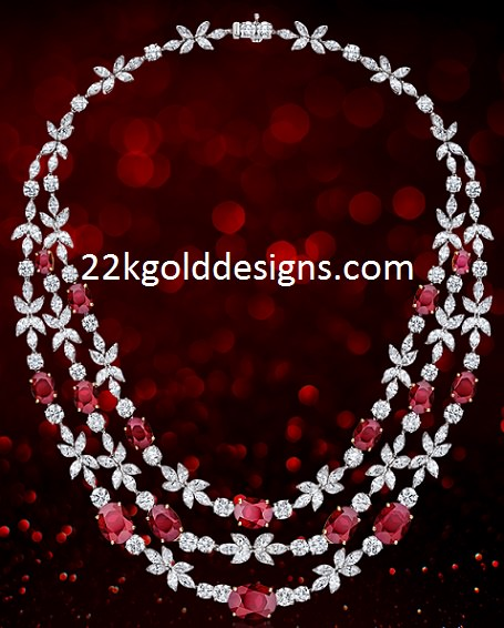 Red Gemstone Diamond Necklace