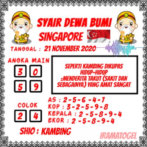 Syair SGP Sabtu 21 November 2020 -