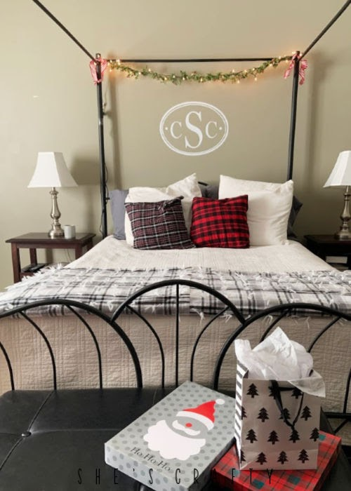 Master Bedroom Christmas Decoration  -   pillows, garland, lights