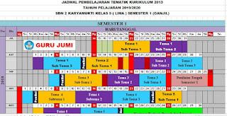 Jadwal Pelajaran K13 SD Kelas 5 Tahun Pelajaran 2019-2020 Semester 1 dan 2, http://www.librarypendidikan.com/