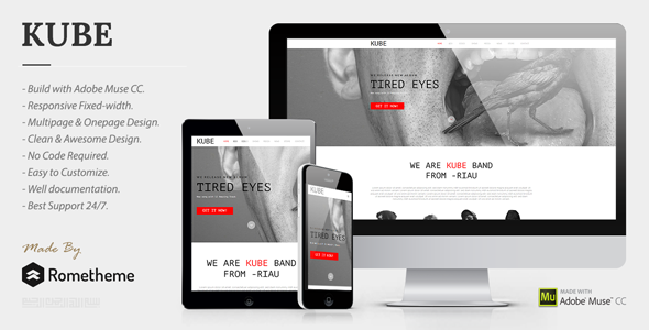 Kube Muse Template for Musician, DJ, Band, Music