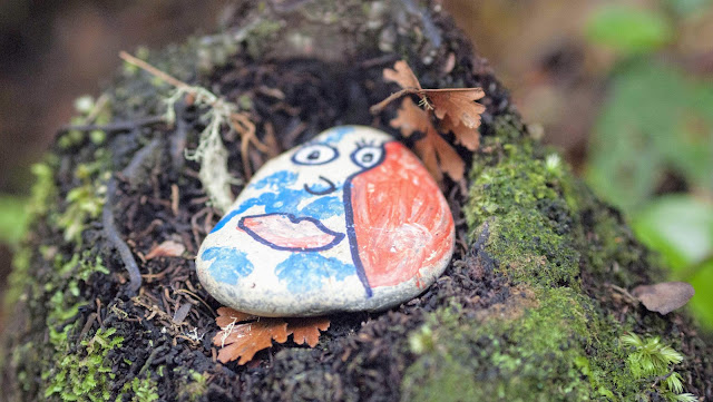 Paihia to Auckland: Rock painted with a face at Whangarei Falls Scenic Reserve