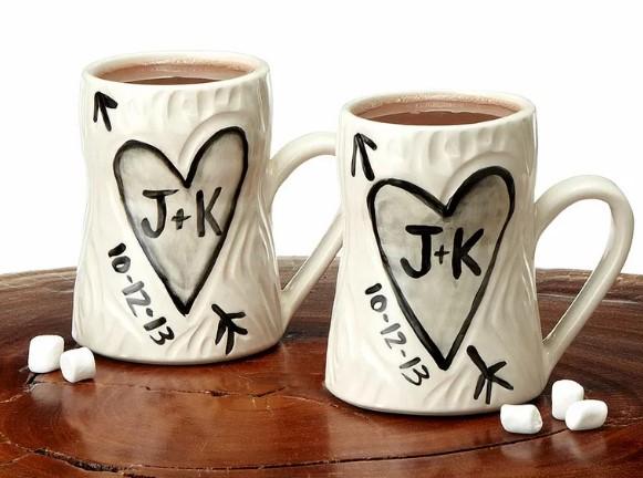 Gina DeSantis personalized porcelain faux bois mug set