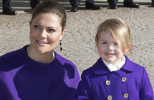 Princess Victoria and daughter Estelle sport matching coats for name day celebrations in Stockholm