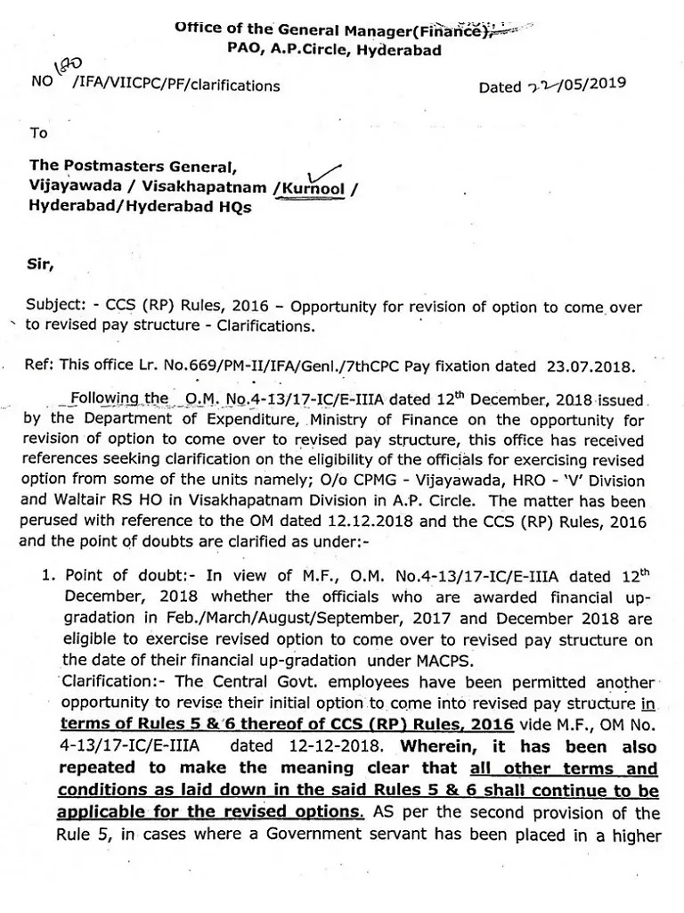 7th CPC clarification: Revision of Option for to come over to revised pay structure – reg.