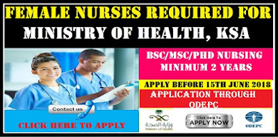 FEMALE NURSES REQUIRED FOR MINISTRY OF HEALTH, KSA