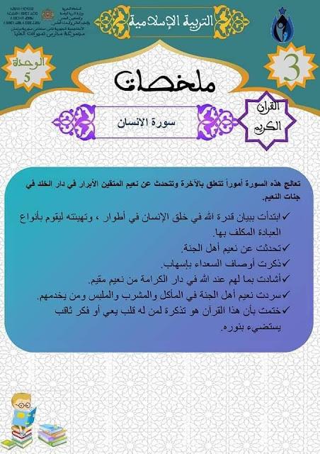 التربية الإسلامية أنشطة داعمة للمستوى الثالث ابتدائي
