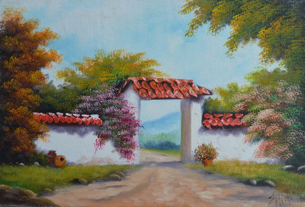 Cuadros modernos pinturas y dibujos entradas de haciendas pintadas en leo - Como pintar cuadros faciles ...
