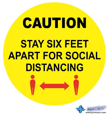 Caution: Stay Six Feet Apart For Social Distancing