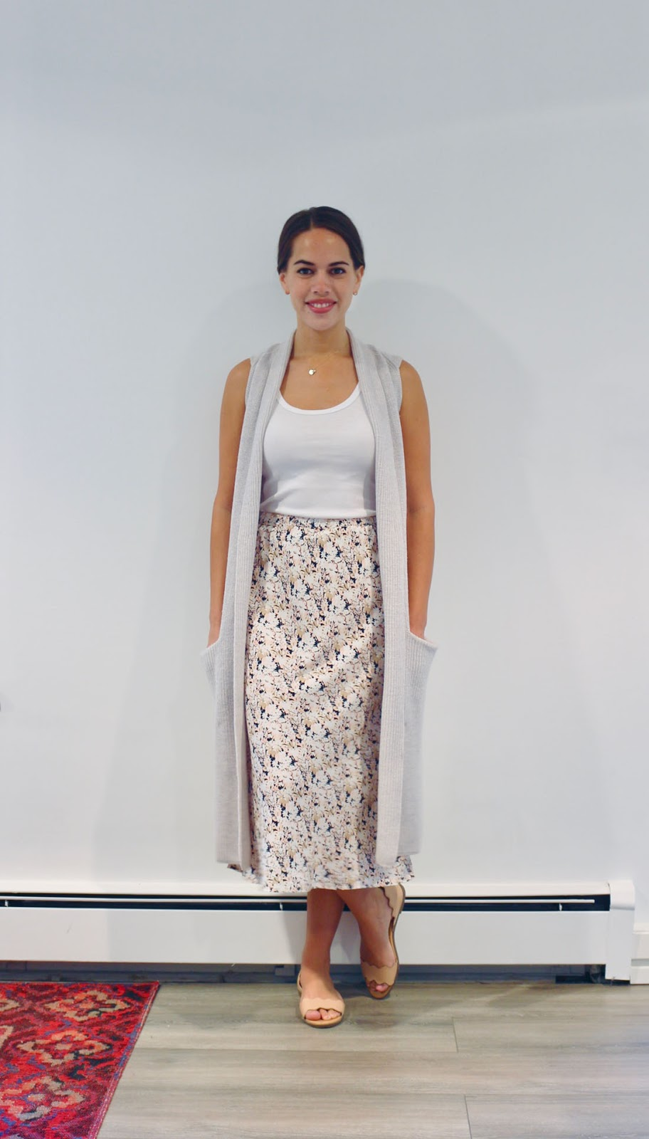 Jules in Flats -  Floral Print Midi Skirt with Tank & Sweater Vest (Business Casual Summer Workwear on a Budget)