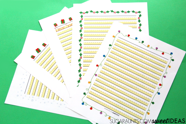 Highlighted paper in the modified paper Christmas Handwriting pack for kids