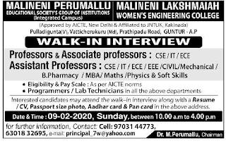 Assistant Professor, Lab Technician, Programmer Jobs in Malineni Lakshmaiah Women's Engineering and Group of Colleges 2020 Recruitment Walk-in Interview, Guntur