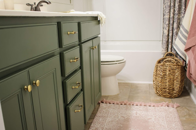 bathroom vanity painted sherwin williams rosemary with brass hardware
