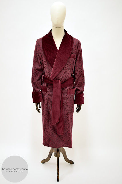 mens burgundy velvet lounging robe dark red paisley dressing gown jacquard cotton silk