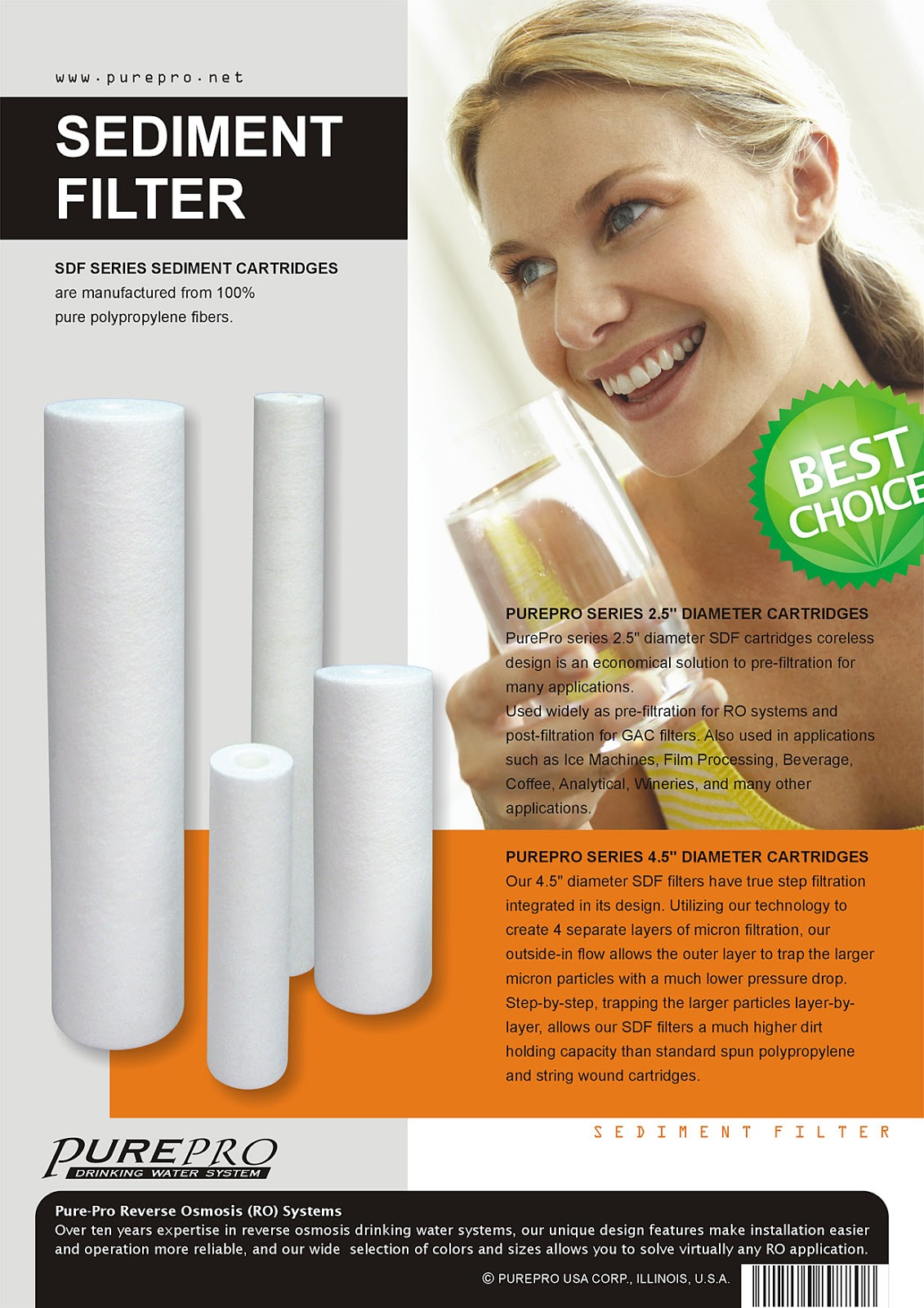PurePro USA Sediment Filter Pro-Series Cartridge Filters SDF-102505