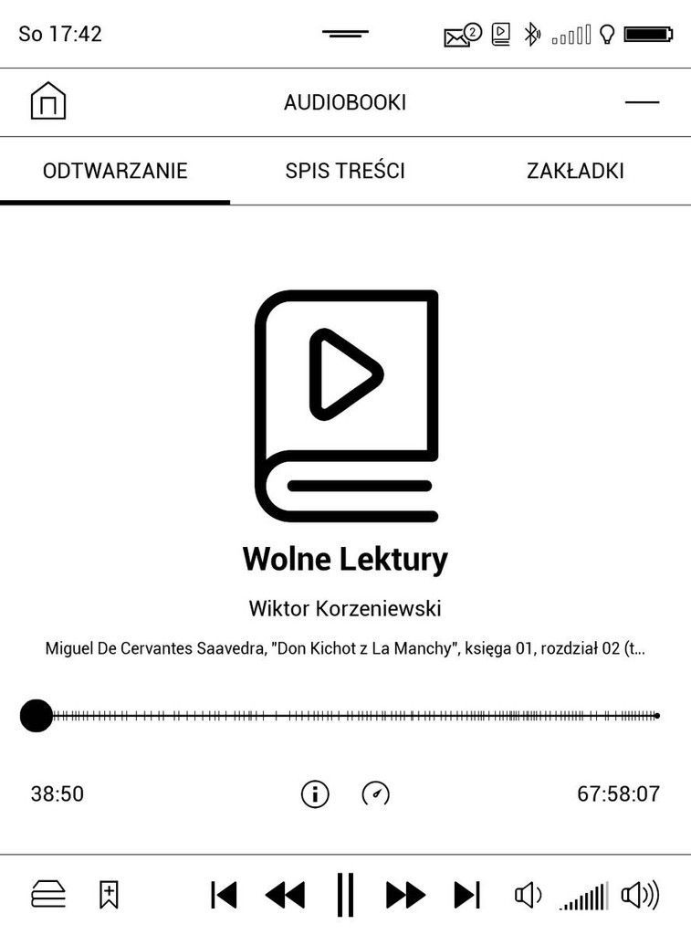 PocketBook Touch HD 3 – ekran odtwarzania audibooka