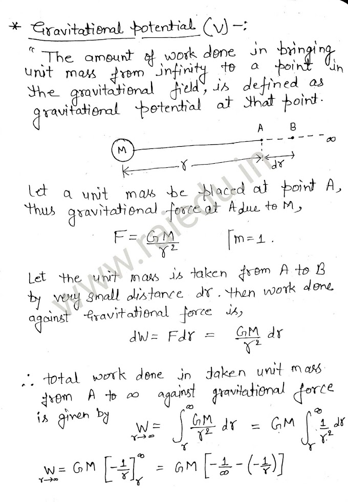 Gravitational potential and its formula  derivation