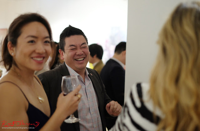 Dion enjoying a joke. Beyond the Light - Chinese Artist He Zige - Photos By Kent Johnson for Street Fashion Sydney.
