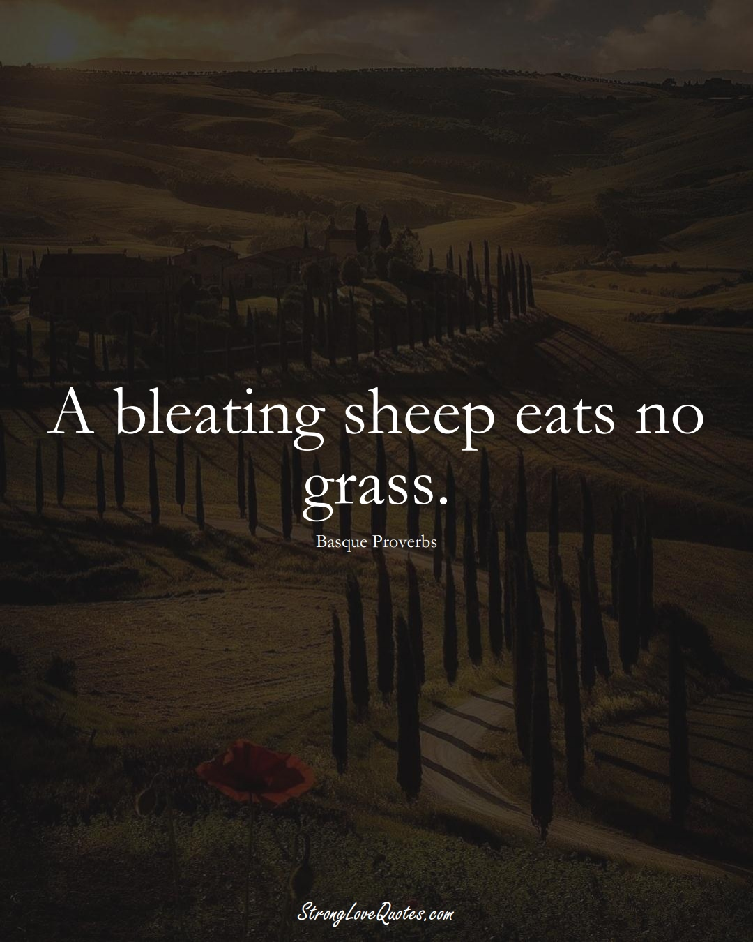 A bleating sheep eats no grass. (Basque Sayings);  #EuropeanSayings