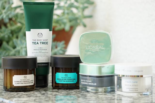 Masken von the Body Shop, L'Oreal und eine von Dalton Cosmetics