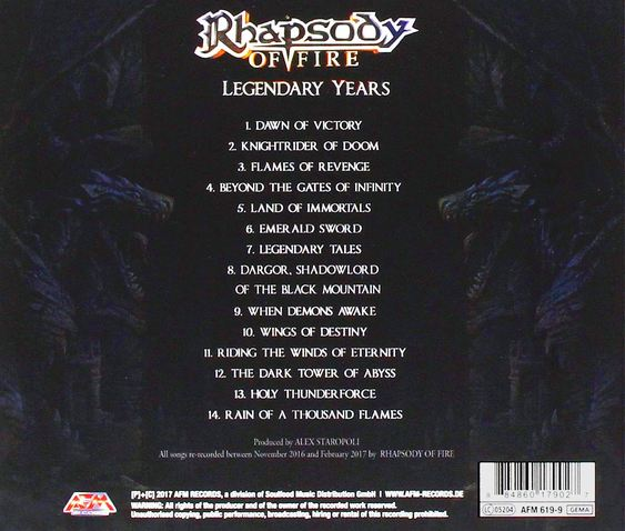 RHAPSODY OF FIRE - Legendary Years (2017) back