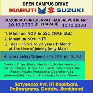 ITI Job Open Campus Placement For Suzuki Motor Gujarat Pvt. Ltd At Satyendra Pvt. ITI Khairbani,  Pathargama, Godda, Jharkhand