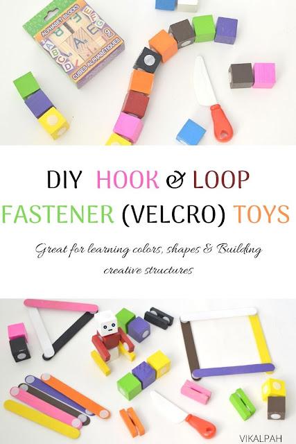 DIY velcro toys using benga blocks, wood cubes , popsicle sticks
