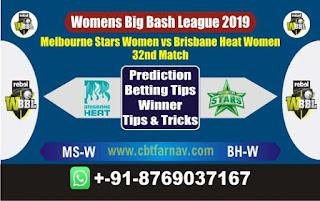 Womens Big Bash League 2019 Stars vs Brisbane Heat 32nd WBBL 2019 Match Prediction Today Reports