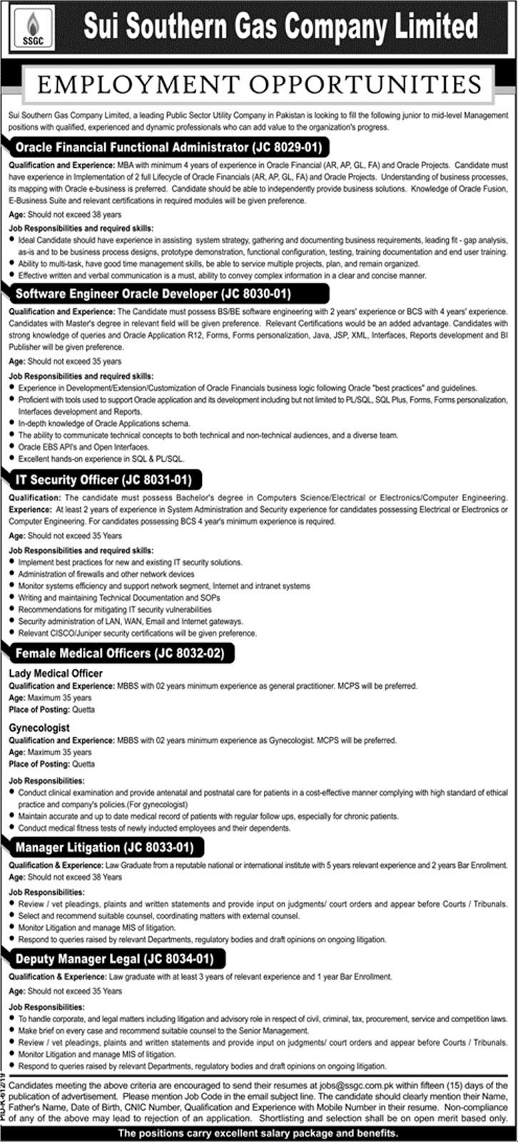 Sui Southern Gas Company Limited Jobs 2019 August