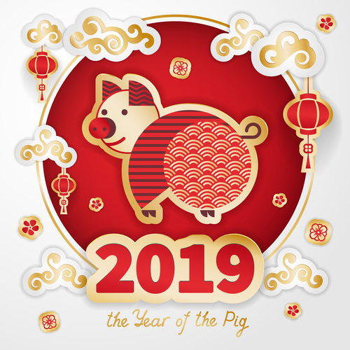 2019 the year of the pig design free vector