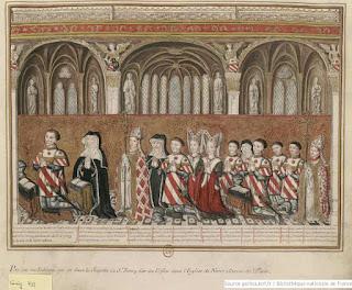 Fig 2. Grand tableau oblong réprésentant l'interieur d'une église du XVe siècle contre les   piliers de laquelle est tendue une tapisserie.  Gouache sobre pergamí. s.d.  Gaigniéres, 377 inv. Bouchot.