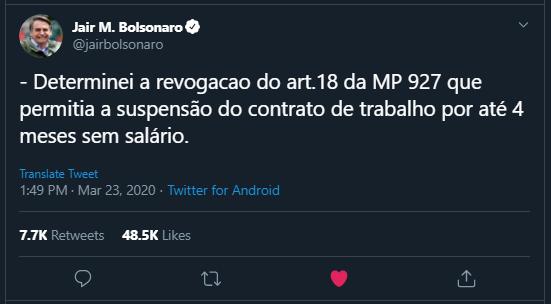 Twitter de bolsonaro sobre revogação da suspensão de contratos