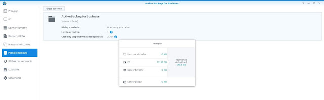 Active Backup for Business zakładka Pamięć masowa