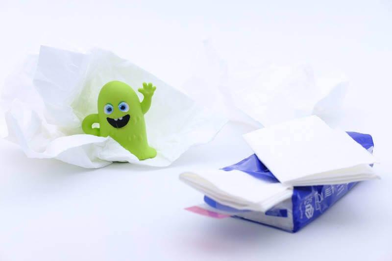 pañuelos para resfriados e infecciones por virus y bacterias
