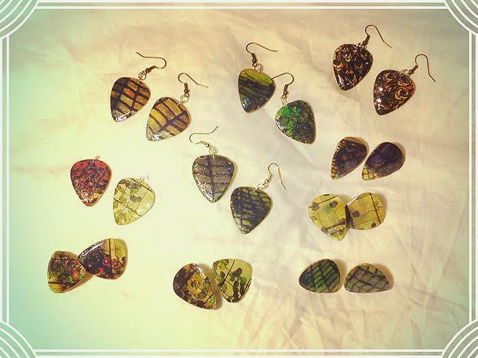 Tiffany style guitar pick jewelry