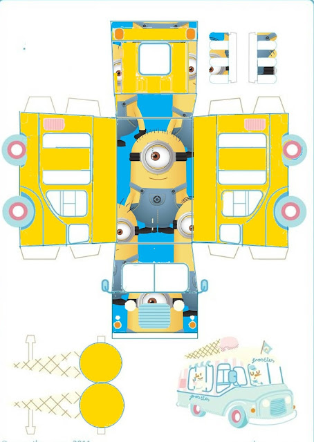 Minions: Free Printable Ice Cream Car Shaped Box
