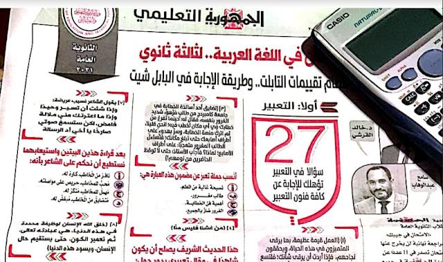 توقعات جريدة الجمهورية فى اللغة العربية بالاجابات للصف الثالث الثانوى 2021