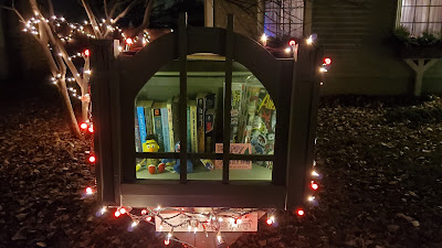 Library of Justice Holidays Christmas Winter 2020 with lights and Bert and Grover from Sesame Street