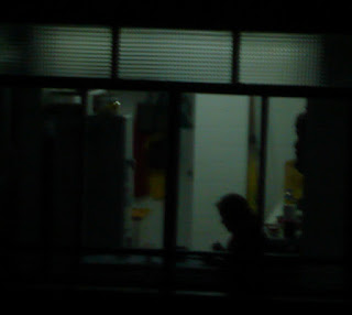 escena oscura: silueta recortada en un fondo de luz tenue.