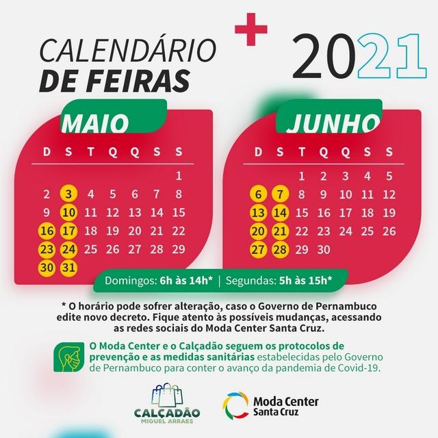 Calendário de feiras para a primeira alta temporada 2021 no Moda Center Santa Cruz e Calçadão é definido