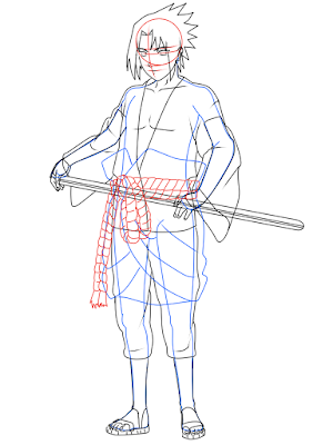 cara menggambar Sasuke Hebi tahap 19